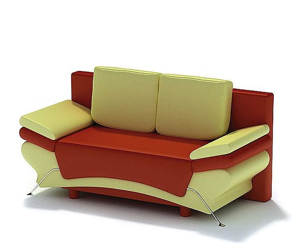 red and cream modern sofa 3d model  1