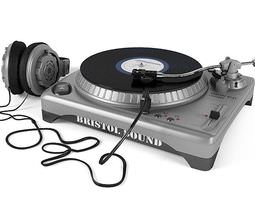 3d silver and black turntable with headphones