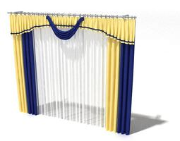 3D Blue And Gold Drapes