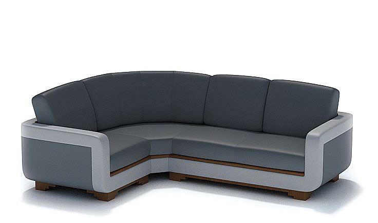 Modern L Shaped Black Leather Couch Model
