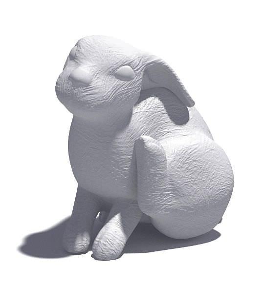 White Rabbit Scratching Sculpture