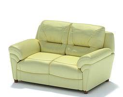 3d model light leather sofa