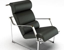 black Black Leather Chair 3D