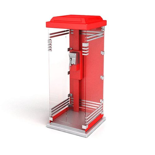cabinated glass covered public telephone booth 3d model obj mtl 1