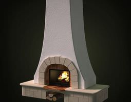 tall stone fireplace 3d