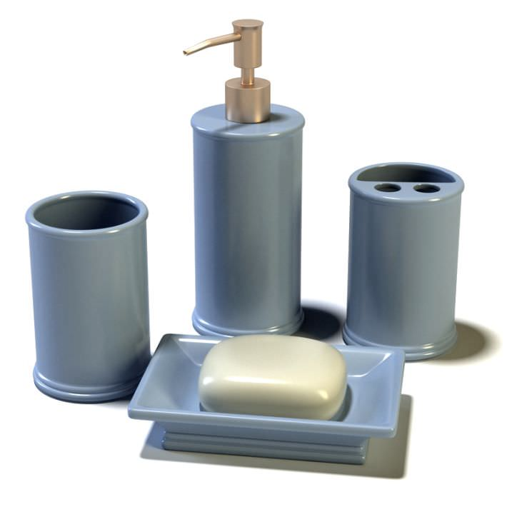 Bathroom Accessories Blue Ceramic With Soap Model