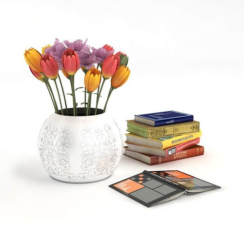 Home decor books and vase with flowers 3d model obj - Domestication home decor model ...