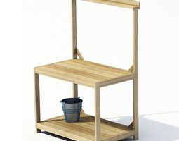 3D New Brown Wooden Potting Bench