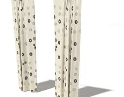 living room curtains 3d model