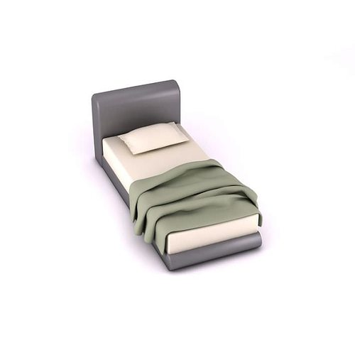 Modern twin bed set with gray leather headboard and platform 3d model - Modern tuinmodel ...
