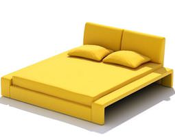 Contemporary Style Yellow Bed 3D