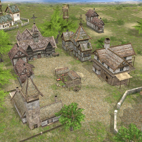 Exterior: 3D Model Game Ready Realistic Village Scene