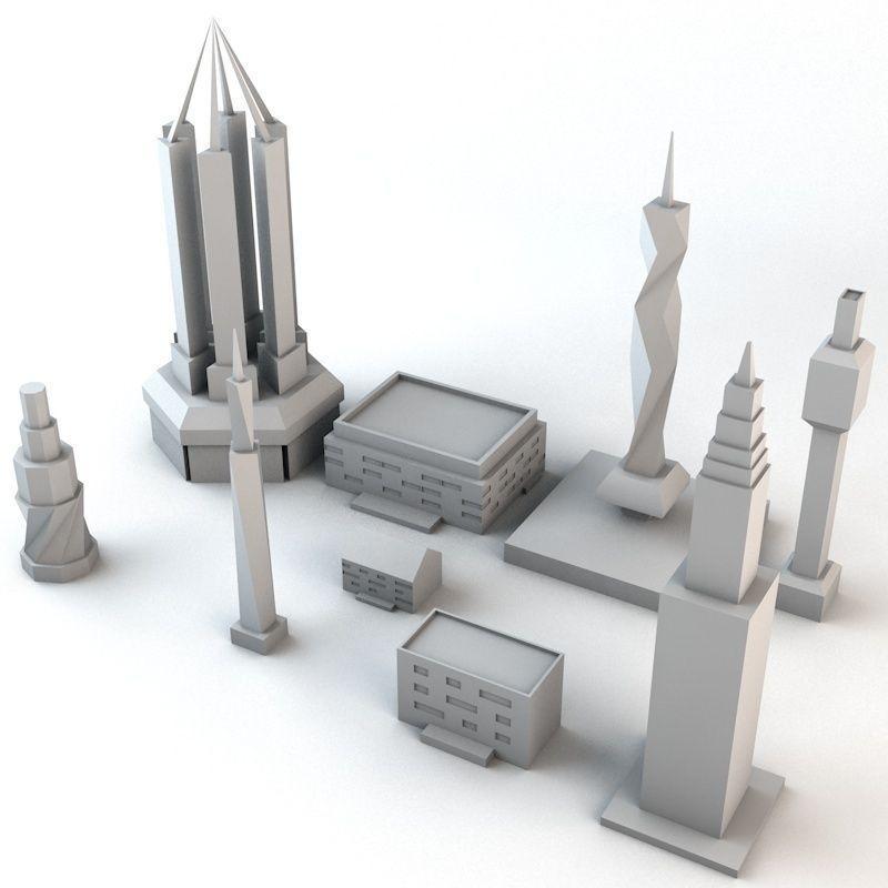 Lowpoly Minimalistic Buildings Pack