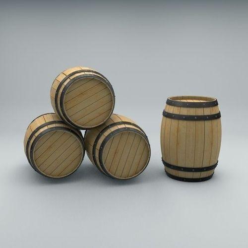 Wood Barrel with Metal Bands