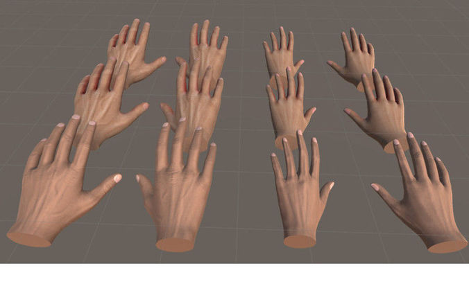 hands for vr basic - unity3d 3d model low-poly animated prefab 1