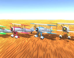 two wing plane lp pbr game ready 4x color realtime 3d asset