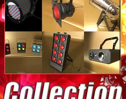 realistic stage lights collection 6 items 3d