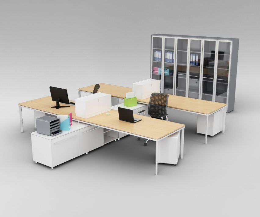 Modern Office Furniture Set 3d Model Obj