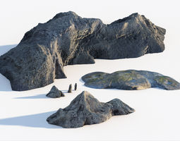 3D model Coastal rocks bundle