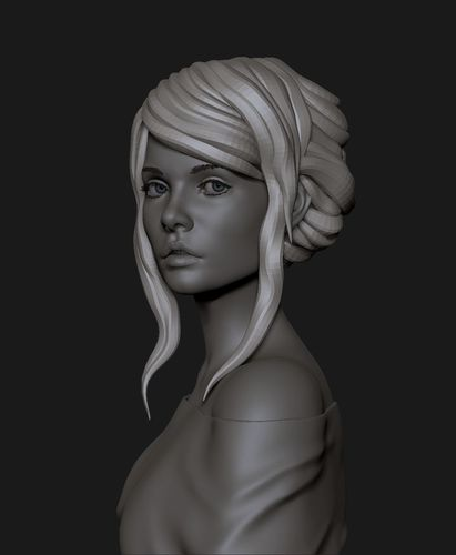 portrait of a cute girl 3d model obj mtl fbx stl ztl 1