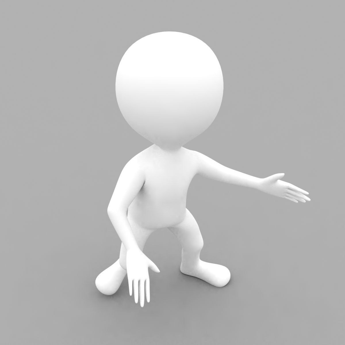 3D White Character Rigged with biped