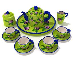 3d model apple green tea service with blue accents