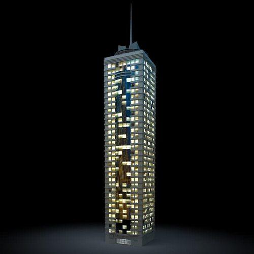 lighted office skyscraper 3d model obj mtl 1