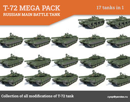 t-72 mega pack all modifications of this tank 17 in1 3d model