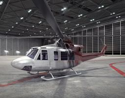 3d model black and white helicopter inside a building