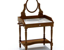 3D Brown Antique Wood Mirrored Vanity