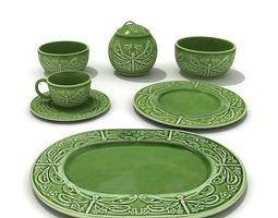 3D Elegant Green China Tea Set