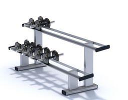 Black Metallic Dumbbell Set Weights 3D model