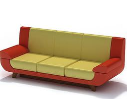 Retro Leather Couch 3D model