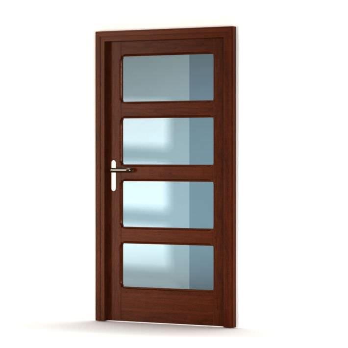 Beautiful Brown Wooden Door With Glass Panels 3d Model Obj 1