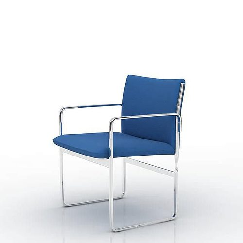 royal blue cushion with chrome frame office chair 3d model obj