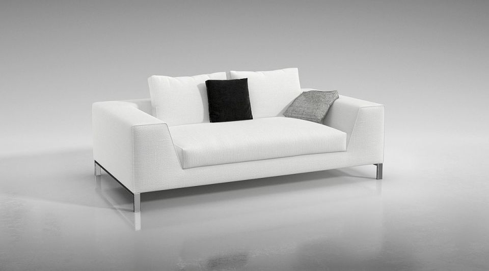 Gentil Modern White Couch 3d Model Obj 1