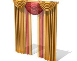 long multi colored drapes 3d model