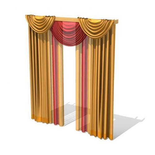 long multi colored drapes 3d model  1