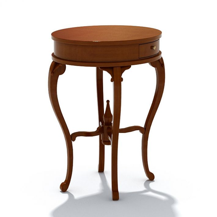 Classic Furniture Round Table With Drawer 3d Model Max Bip