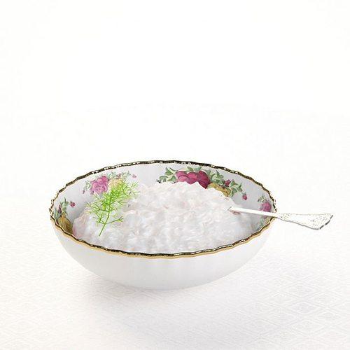 bowl   porcelain with gold trim 3d model obj 1