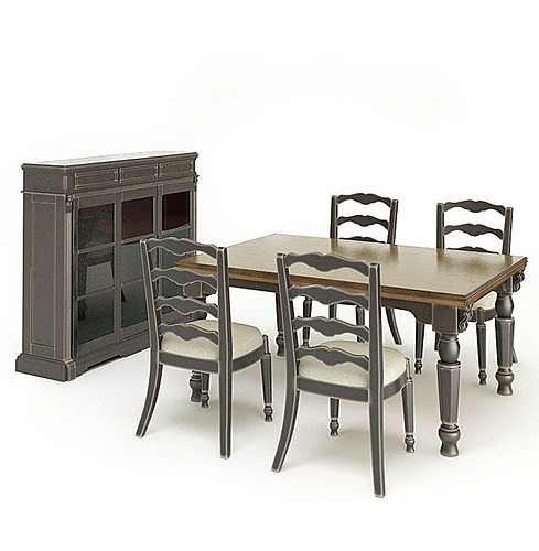 grey wood dining room set 3d model obj