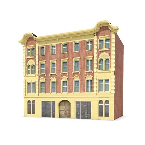 3d brick colonial style building cgtrader for Mobel kolonial style