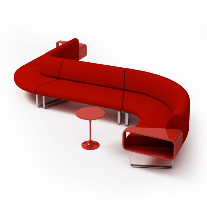 Modern Red Couch With Matching Table 3D model | CGTrader