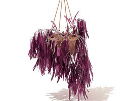 3D Hanging Potted Purple Plant