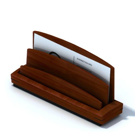 wooden business card holder 3d model obj mtl 1 - Wooden Business Card Holder