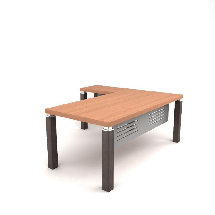 Wooden L Shaped Desk 3d Model Obj 1