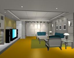 3D bed-room Living room