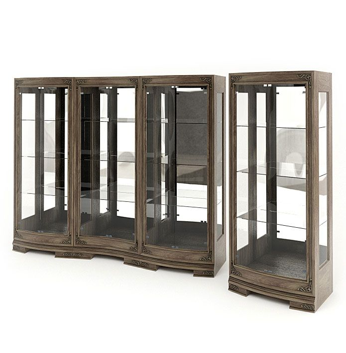 Incroyable Wood And Glass Display Cabinets 3D Model