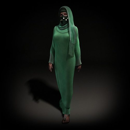 muslim woman with green dress and head covering 3d model obj mtl 1