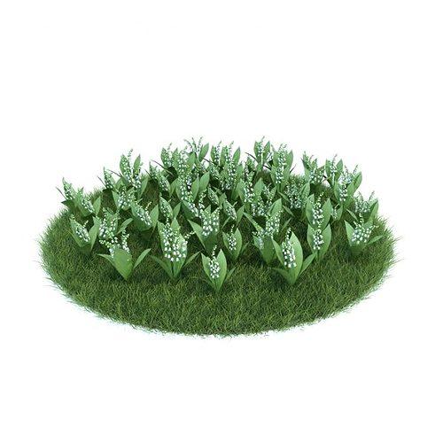convallaria majalis flowering plant 3d model obj mtl 1